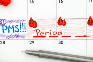 calendario con periodo mestruale