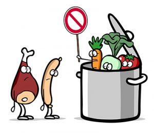 illustrazione verdure e proteine animali